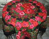 Vintage Pavlovo Posad black fringes floral shawl/Vintage Russian Shawl/Ukrainian Shawl/Floral Rose /Folk Scarf with Tassels/Babushka scraf