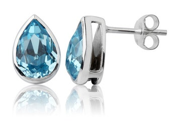 Aquamarine Tear Drop 10x7mm Stud Earrings