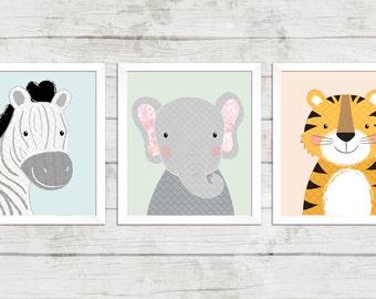 Set of 3 Safari Animal Nursery Prints