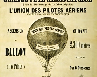 AZ26 Vintage 1885 Grande Fete Aerostatique Hot Air Balloon Acrobat Circus Advertising Poster Re-Print Wall Decor A1/A2/A3/A4