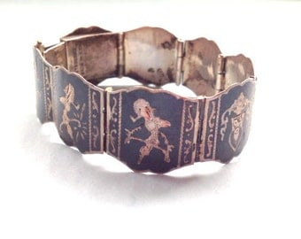 Vintage Sterling Silver Bracelet - Niello metalwork made in Siam - 1930s to 1950s - Art Deco – Goddess