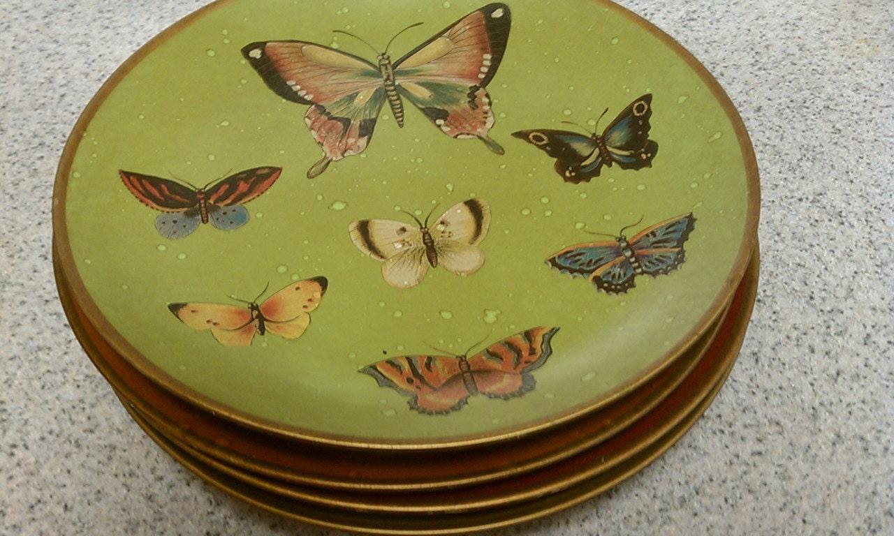 Decorative Wall Plates Set Of 4 : Set of vintage butterfly decorative plates decor