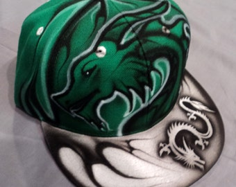 Airbrushed Green Dragon Snapback Hat Hand Painted airbrush