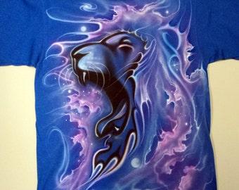 Airbrushed Roaring Lion Nebula T Shirt Hand Painted airbrush