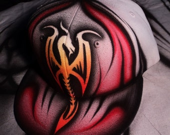 Airbrushed Fire Dragon Snapback Hat Hand Painted airbrush