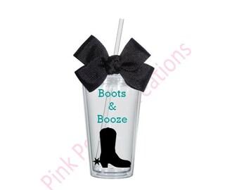 Bachelorette Tumbler, Bachelorette Gift, Boots and Booze, Bachelorette Party, Personalized Bachelorette Tumbler