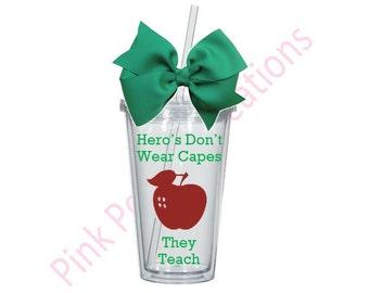 Hero Teacher Tumbler, Teacher Tumbler, Personalized Tumbler, Teacher Gift