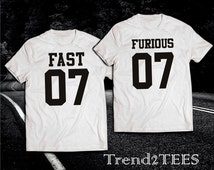 Fast and Furious 7 Couples Shirts Set, Couple Tshirts Furious 7, Matching 100% cotton Tees