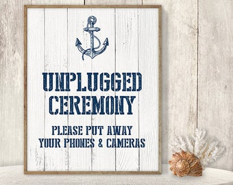 Unplugged Ceremony Sign DYI // Unplugged Wedding // Wedding Ceremony Sign // Nautical Printable PDF / Nautical Planks ▷ Instant Download