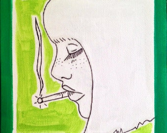 Girl Smoking/ Green/ Cigarette daydreams/ 6 inch canvas/ Acrylic painting