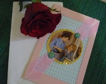 French vintage rare Lace and sik  card of a couple 1960's Valentin day Free shipping within USA