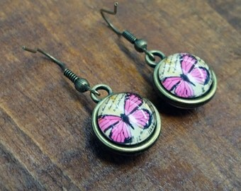 Antique Bronze Style Earrings Pink Butterfly
