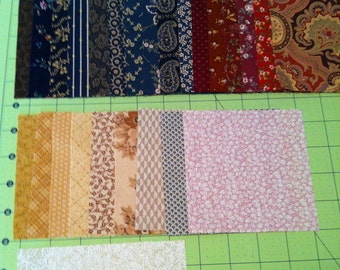 "Fabric Squares 327+ 4.5"" in a bundle of reds, navy, browns, mustards, tans, and creams-Ready to Ship-Quilt pattern included"