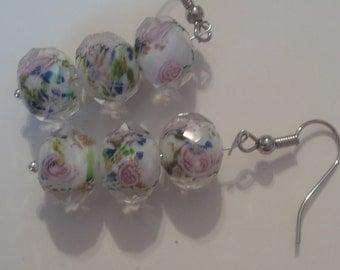 Beaded Glass Earrings   (#217)