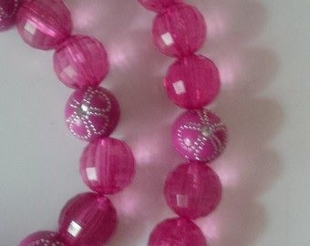 Pink Beaded Necklace and Bracelet Set   (#247)