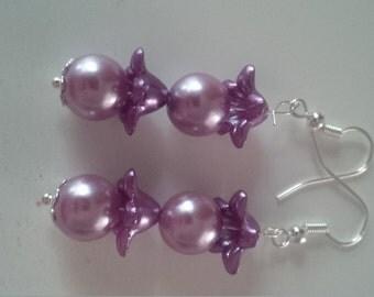 Purple Beaded Earrings  (#279)