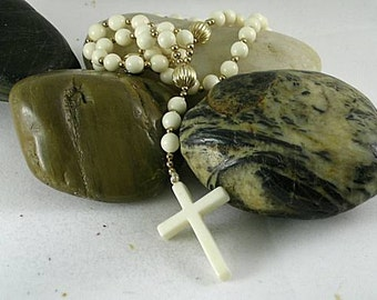 White Bone Standard Rosary with an Authentic Ivory Cross - Renaissance