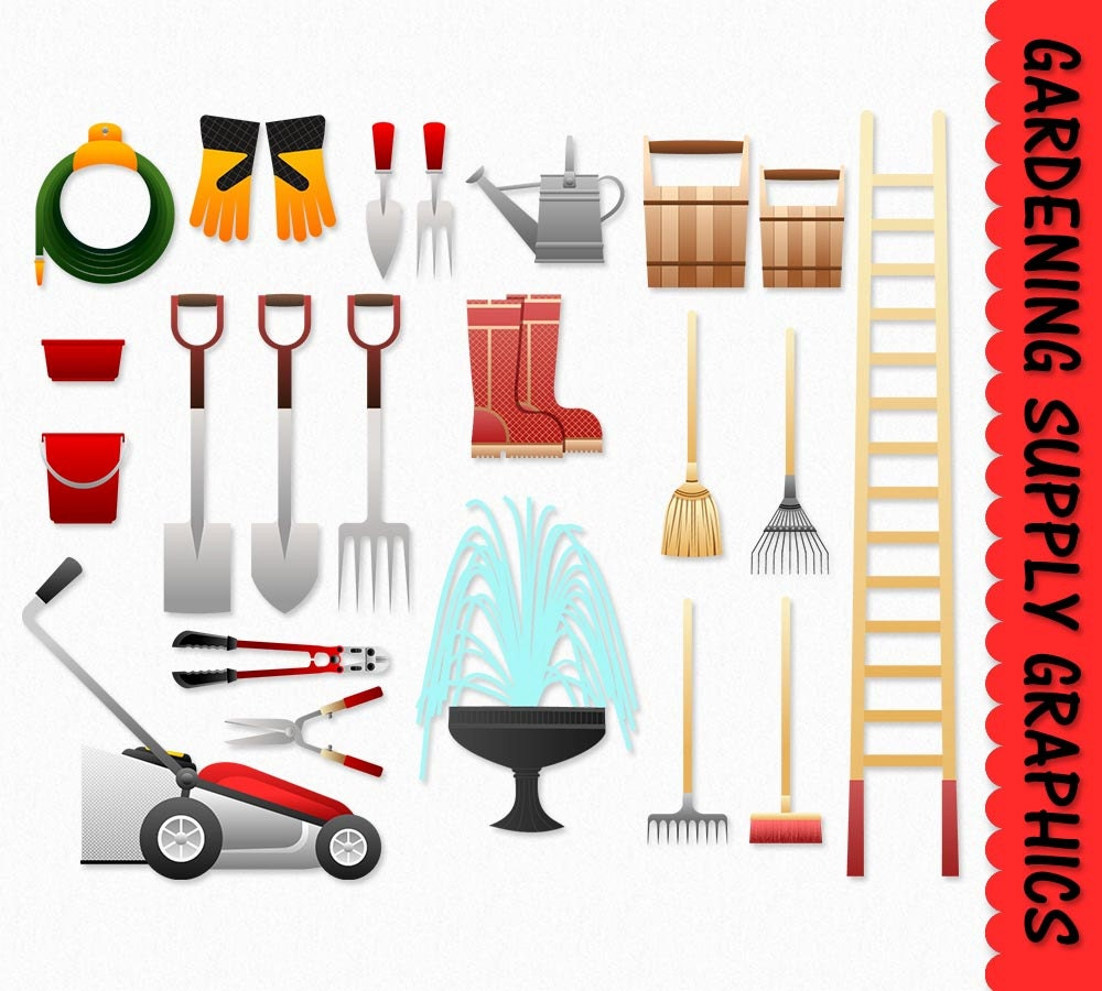 Gardening clip art graphics supply tools clipart garden for Gardening tools clipart