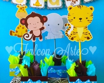 Jungle Safari Baby Shower Or Birthday Centerpieces For Guest Or Main Candy  Food Table SET OF