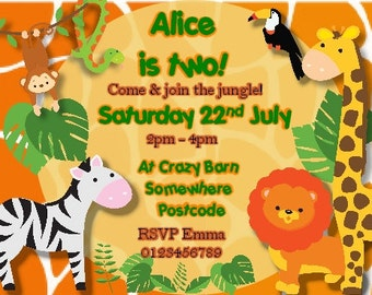Printed Personalised Birthday Jungle Party Invitations x10