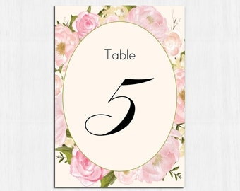 Table Numbers, peonies, pink, flower, floral table numbers, PRINTABLE table numbers, roses table number, pink peonies table numbers, blush