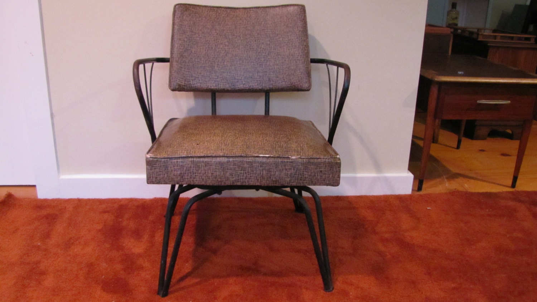Brown Vinyl Viko Furniture Co Swivel Chair Atomic Era