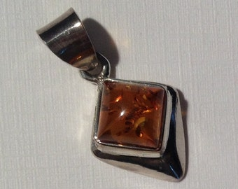 Amber Pendant-Sterling Silver Pendant-Handmade Vintage Pendant-Ethnic-Hippy-Gypsy-LV69