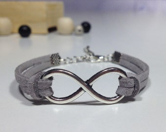 Bridesmaid infinity bracelet Bridesmaid suede bracelet 15 Colors Big infinity bracelet Silver charm bracelet Friendship leather bracelet