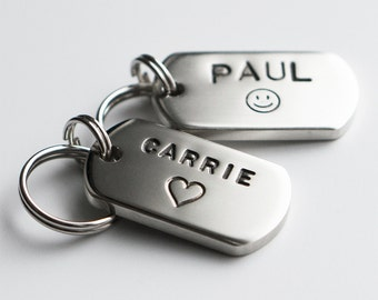 Dog Tag / Pet ID Tag, Military Style Tag -Silver-, Customized, Personalized, Hand Stamped