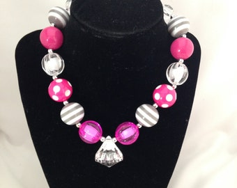 Hot pink and gray bubblegum girls boutique necklace