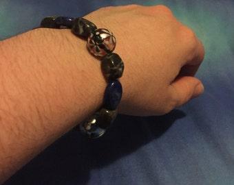 Lapis Lazuli, Agate and Handpainted Glass Bead Bracelet
