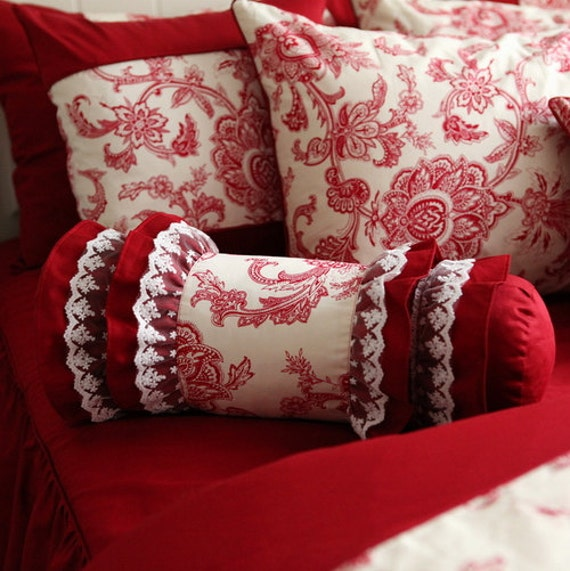 Victorian Bolster Pillows : Red Double Ruffle Lace Victorian Bolster by FantasticBoutique
