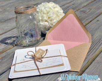 SAMPLE - Rustic Wedding Invitation, Kraft Wedding Invitation, Burlap Wedding Invitation, Barn Wedding Invitation, Country Wedding Invitation