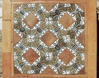 table terracotta and old majolica tiles