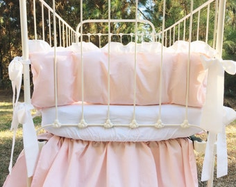Cinderella Washed Cotton Ruffled Crib Bumpers in Baby Pink and Ivory