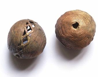 African craft brass jumbo bead