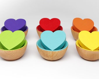 12-Piece Color Matching Toy (Hearts & Bowls) - Kids Wooden Toy / Educational Toy / Montessori Toy / Waldorf Toy