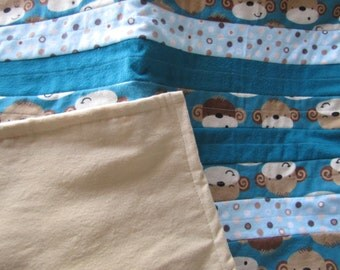 Flannel Quilt Soft & Cuddly Monkey Print Baby/ Toddler