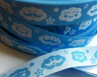 1m woven ribbon: happy clouds