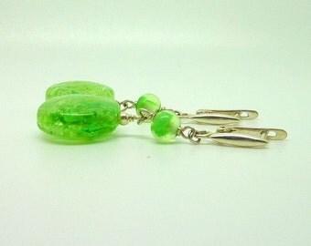 green Earrings, Lampwork Earrings, Glass Earrings, Colorful Earrings Fresh mojito
