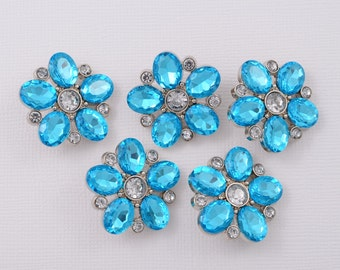 5 pc Buttons - Aqua Blue Rhinestone Buttons Blue Button Craft Supplies