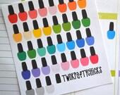 36 Bright Multi Colored Nail Polish Planner Stickers