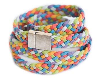 Colorful braided bracelet Summer bracelet Suede wrap bracelet Friendship bracelet Hand-made jewelry Hippie style