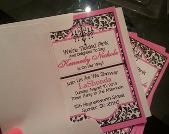 Damask And Pink Invitations
