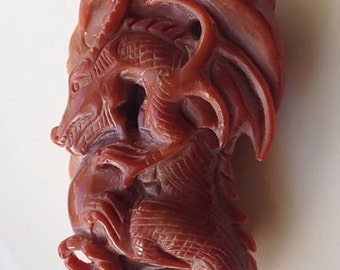 156.50ct Intricately Carved Dragon in Jasper - would make a wonderful pendant.