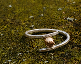 Sterling Silver and 14K Gold Ring - Promise Ring - Minimalist Ring - Delicate Ring - Two Tone Ring - Gift for Her - Everyday Ring