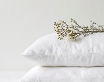 Set of 2 White Stone Washed Linen Pillow Cases