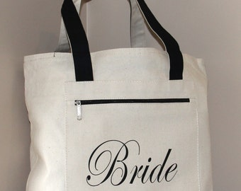 Bride Bag: Heavy Canvas Zippered  Tote Bag, Bridal Shower Gift, Bachelorette Party, Engagement, Carryall, Tote Bag