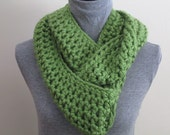 Crocheted Green  Infinity Scarf. Soft texture make it warm and cozy!