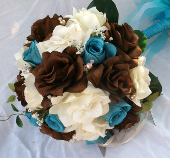 Silk Bride wedding bouquet  blue and brown , and ivory 12 pc